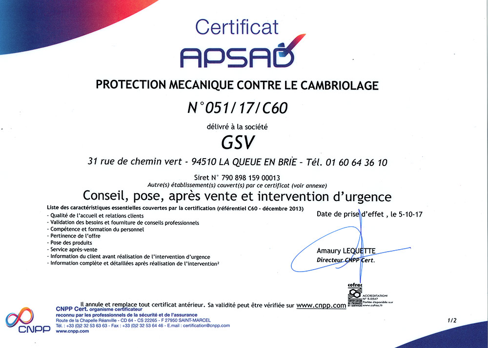 Certification Apsad A2P services